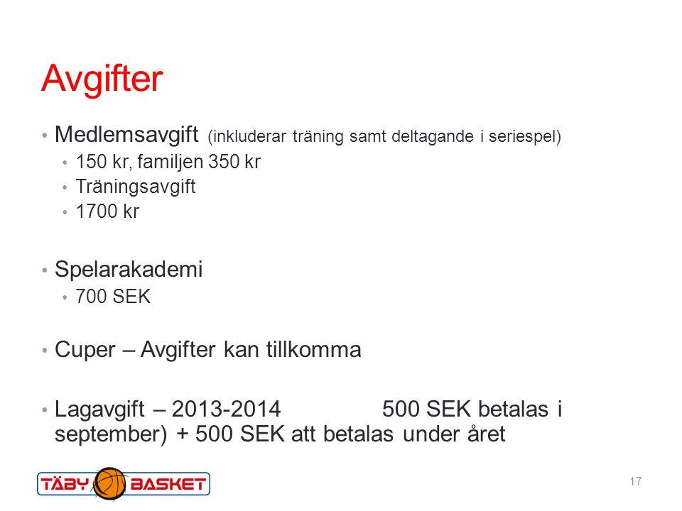 Avgifter Medlemsavgift (inkluderar träning samt deltagande i seriespel) 150 kr, familjen 350 kr. Träningsavgift.