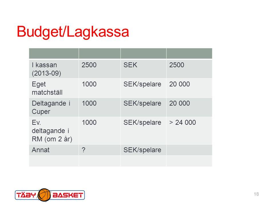 Budget/Lagkassa I kassan (2013-09) 2500 SEK Eget matchställ 1000