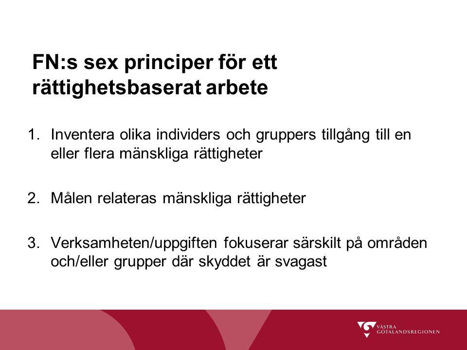 FN:s sex principer för ett rättighetsbaserat arbete
