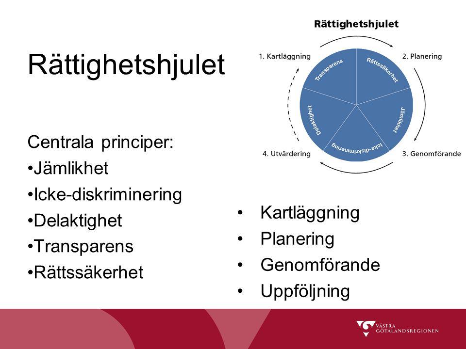 Rättighetshjulet Centrala principer: Jämlikhet Icke-diskriminering
