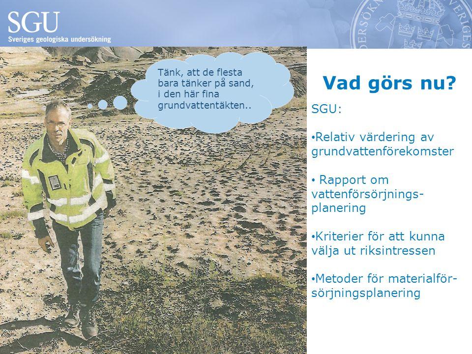 Vad görs nu SGU: Relativ värdering av grundvattenförekomster