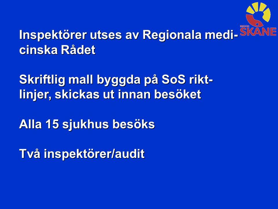 Inspektörer utses av Regionala medi-