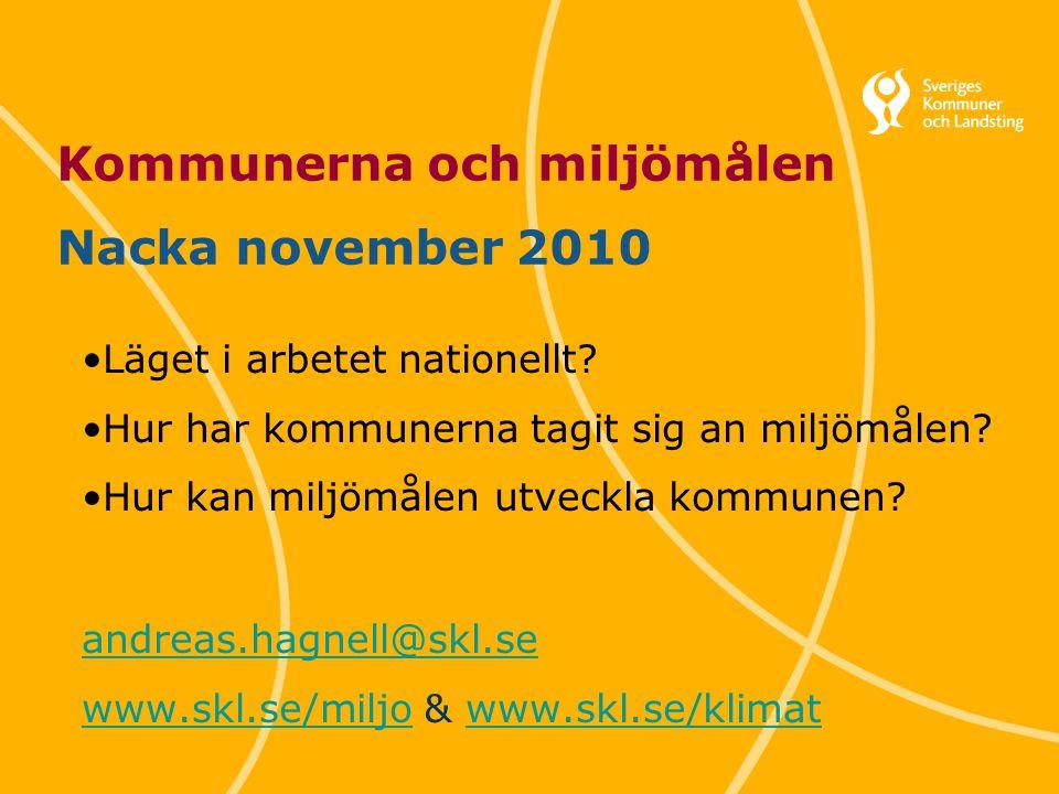 Kommunerna och miljömålen Nacka november 2010