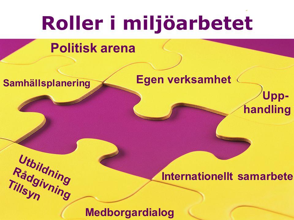 Roller i miljöarbetet Politisk arena Egen verksamhet Upp- handling