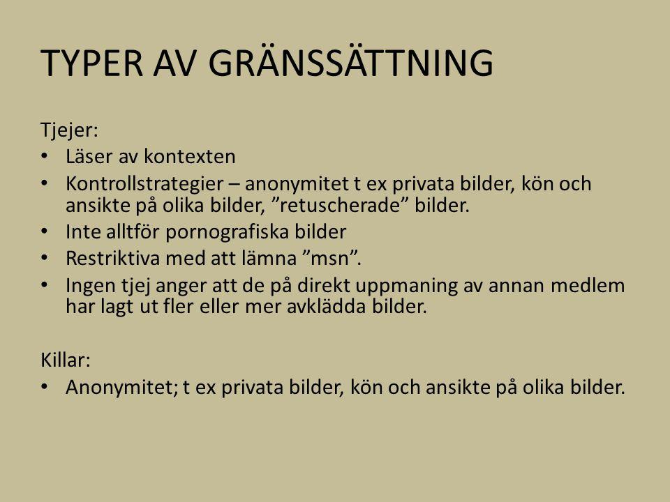 TYPER AV GRÄNSSÄTTNING