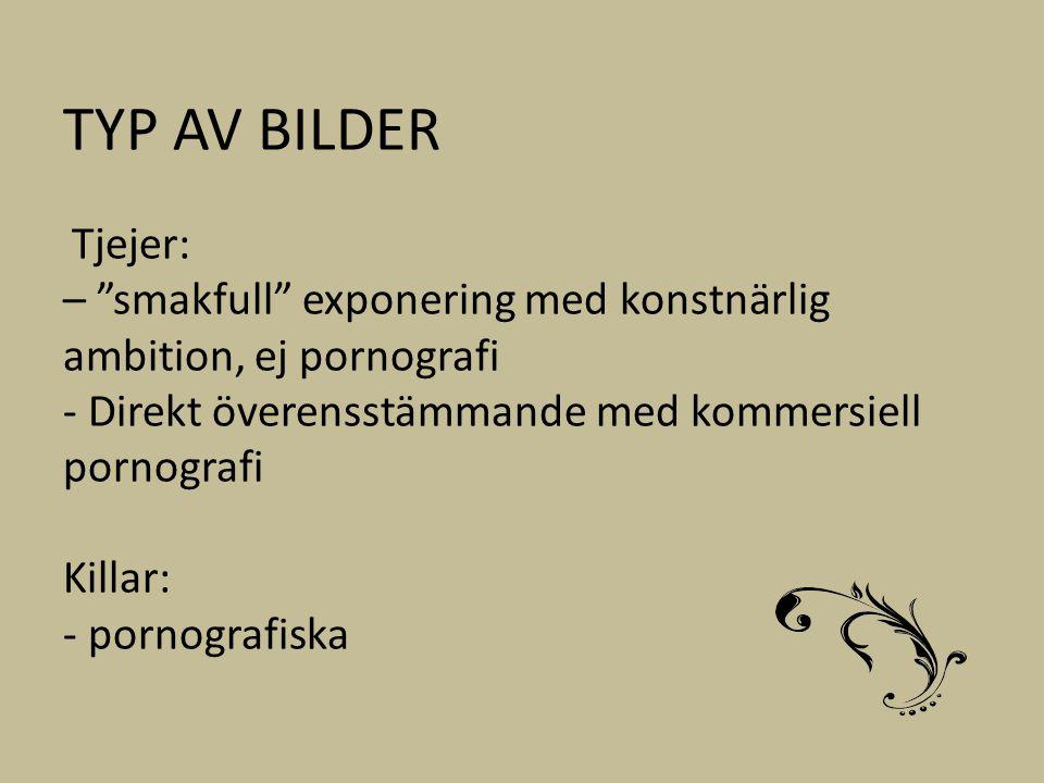 TYP AV BILDER Tjejer: – smakfull exponering med konstnärlig ambition, ej pornografi - Direkt överensstämmande med kommersiell pornografi Killar: - pornografiska