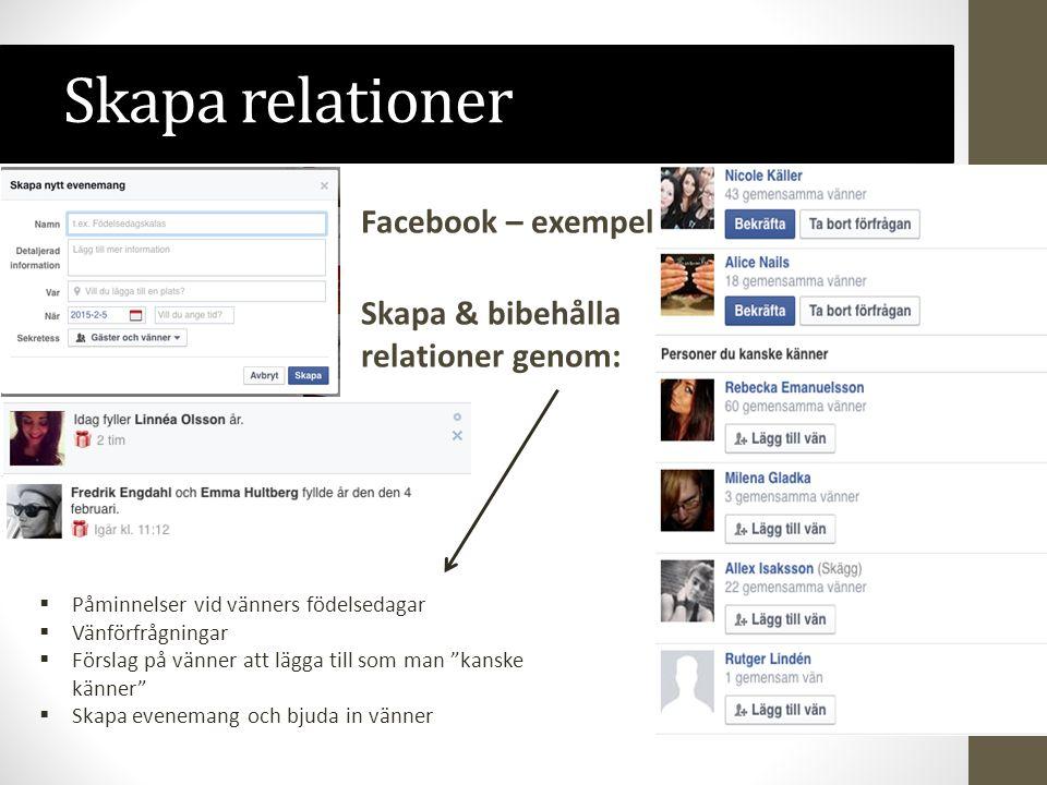 Skapa relationer Facebook – exempel Skapa & bibehålla relationer genom: Påminnelser vid vänners födelsedagar.