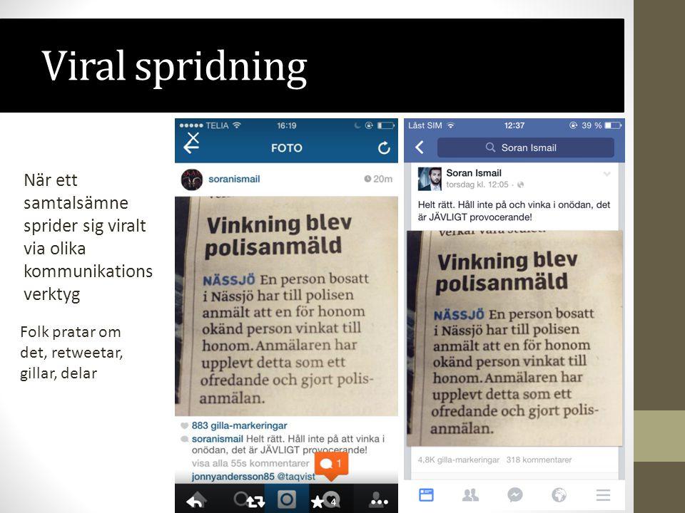 Viral spridning När ett samtalsämne sprider sig viralt via olika kommunikationsverktyg.