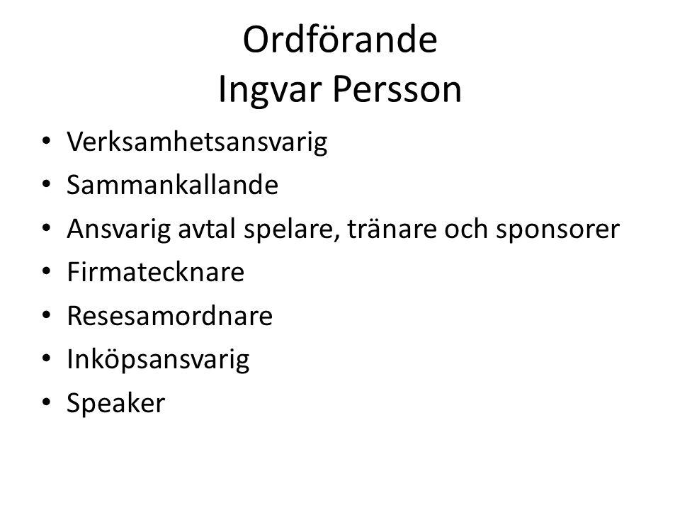 Ordförande Ingvar Persson