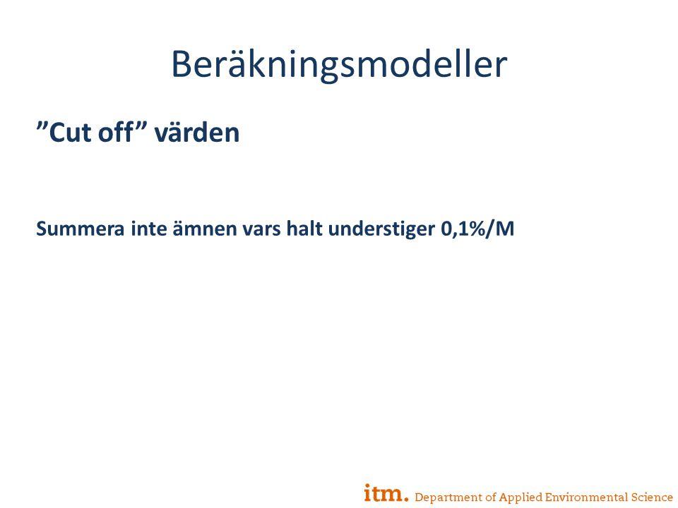 Beräkningsmodeller Cut off värden