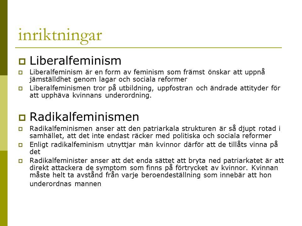 inriktningar Liberalfeminism Radikalfeminismen