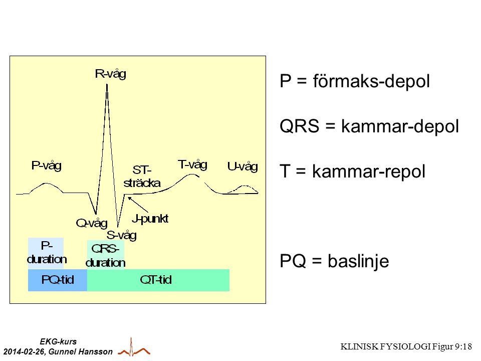 P = förmaks-depol QRS = kammar-depol T = kammar-repol PQ = baslinje