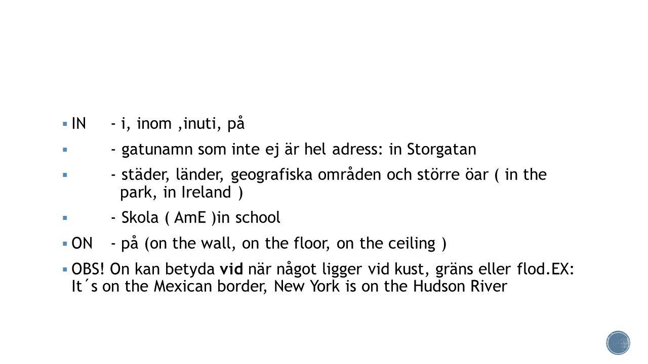 IN - i, inom ,inuti, på - gatunamn som inte ej är hel adress: in Storgatan.