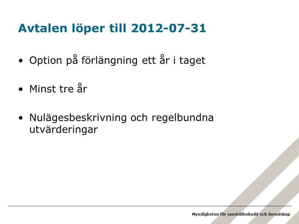 Avtalen löper till 2012-07-31 Option på förlängning ett år i taget