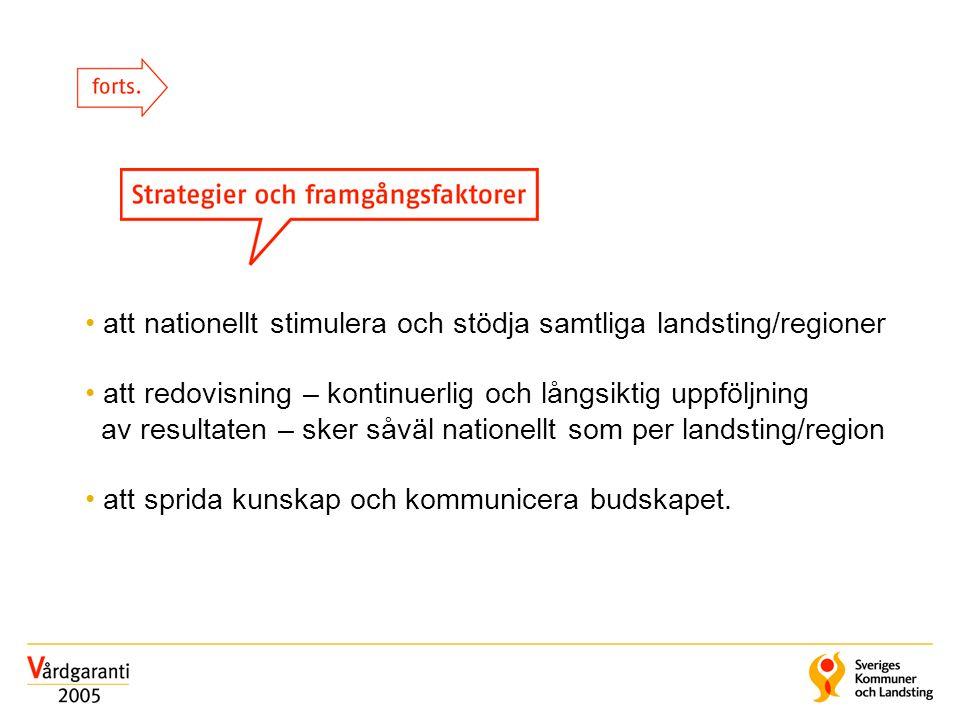 • att nationellt stimulera och stödja samtliga landsting/regioner