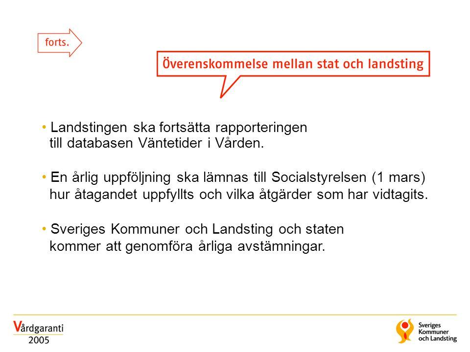 • Landstingen ska fortsätta rapporteringen till databasen Väntetider i Vården.
