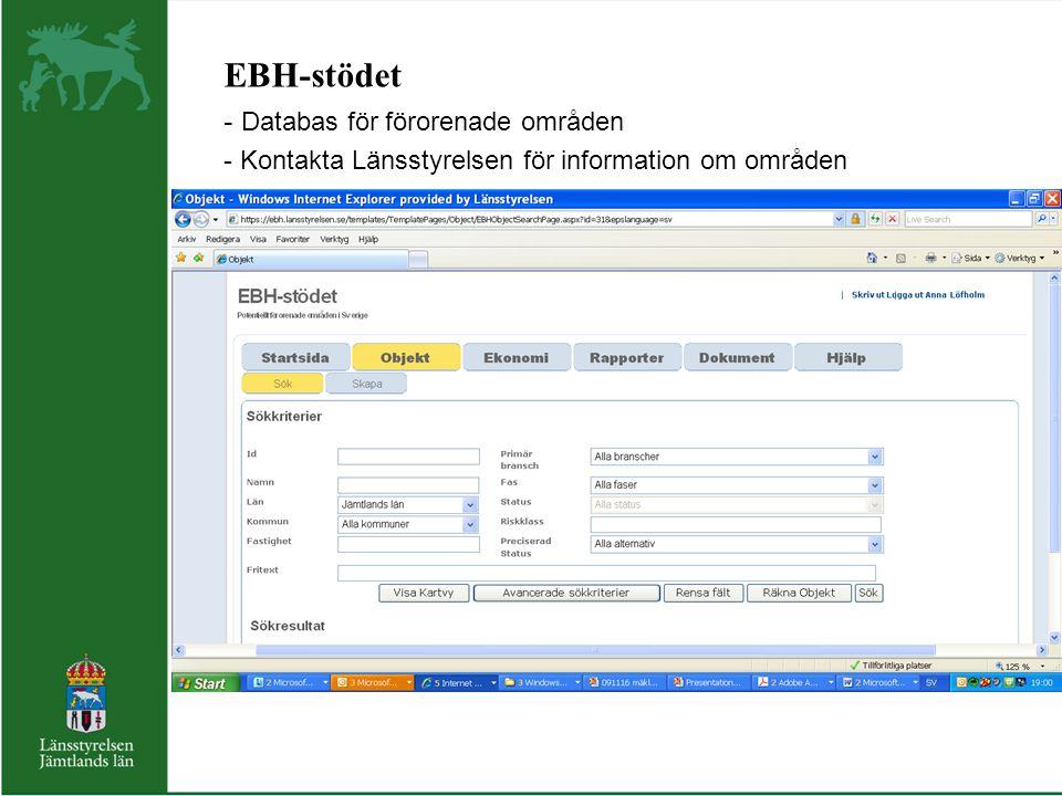EBH-stödet Databas för förorenade områden