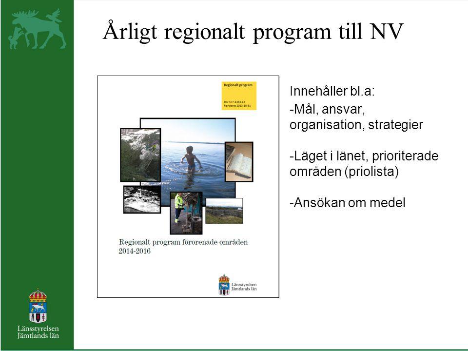 Årligt regionalt program till NV. Innehåller bl. a:
