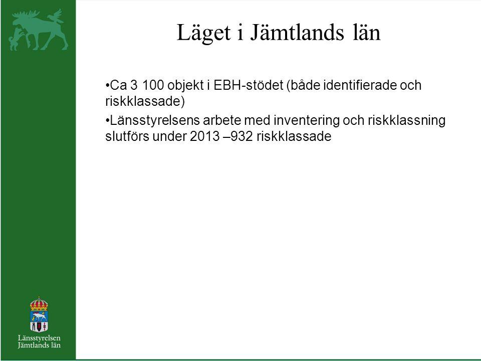 Läget i Jämtlands län Ca 3 100 objekt i EBH-stödet (både identifierade och riskklassade)
