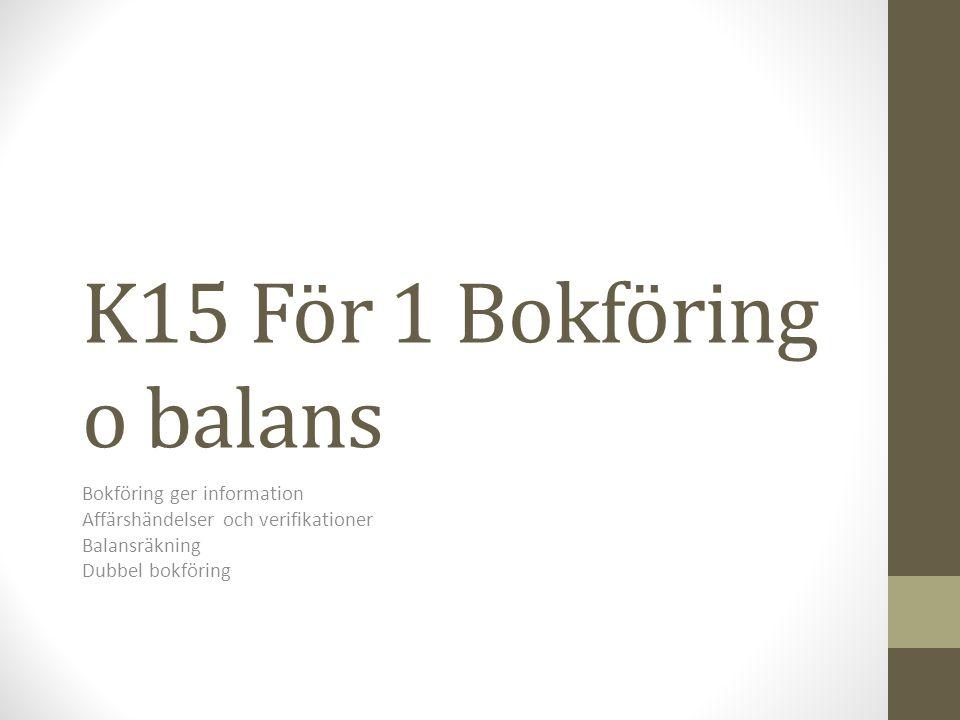 K15 För 1 Bokföring o balans