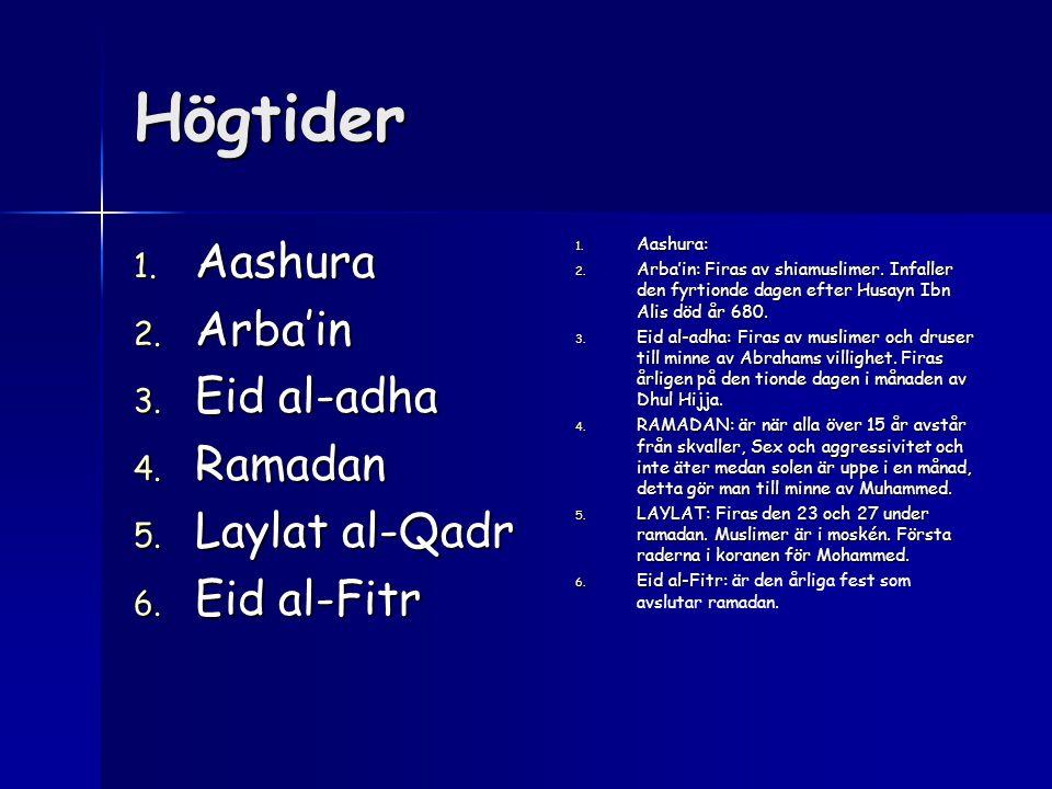 Högtider Aashura Arba'in Eid al-adha Ramadan Laylat al-Qadr