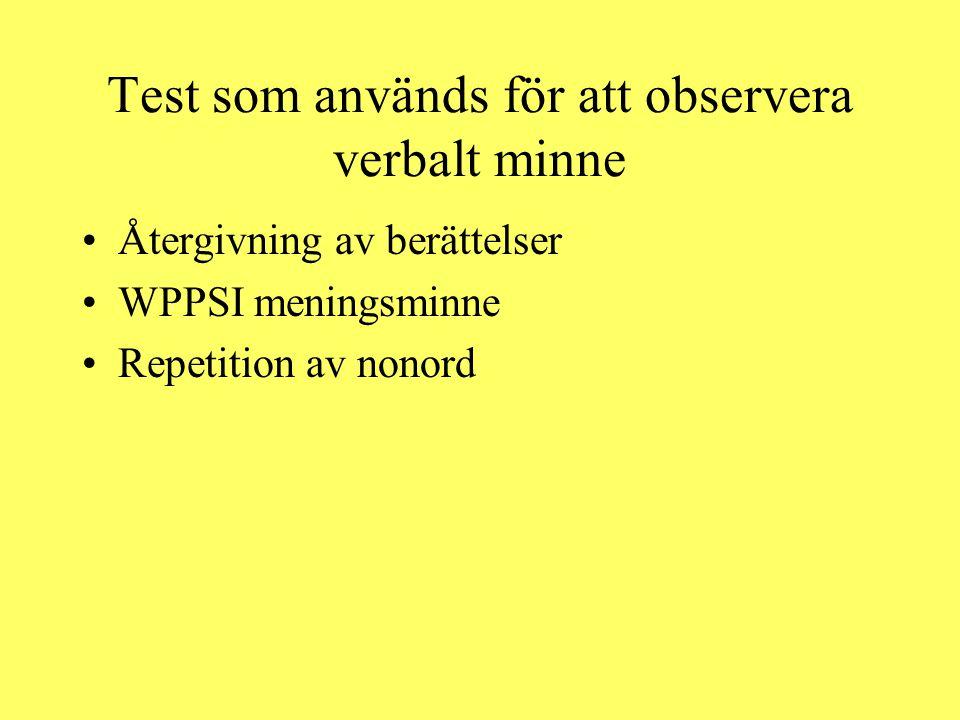 Test som används för att observera verbalt minne
