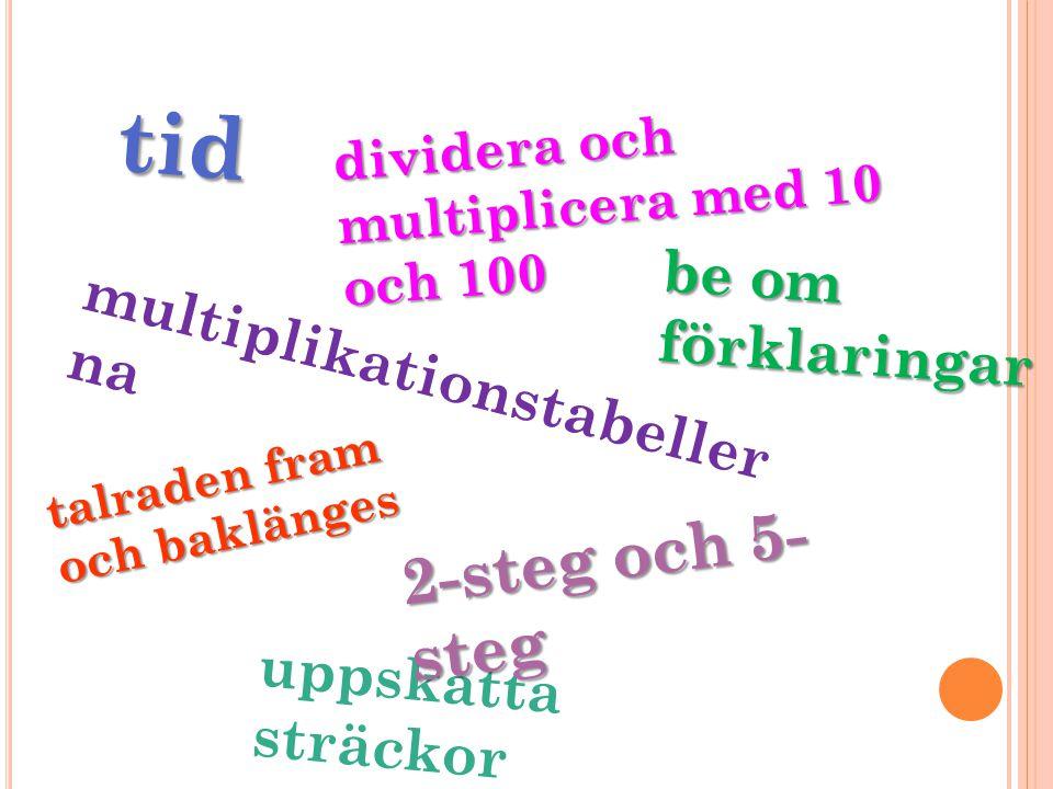 tid 2-steg och 5-steg be om förklaringar multiplikationstabellerna
