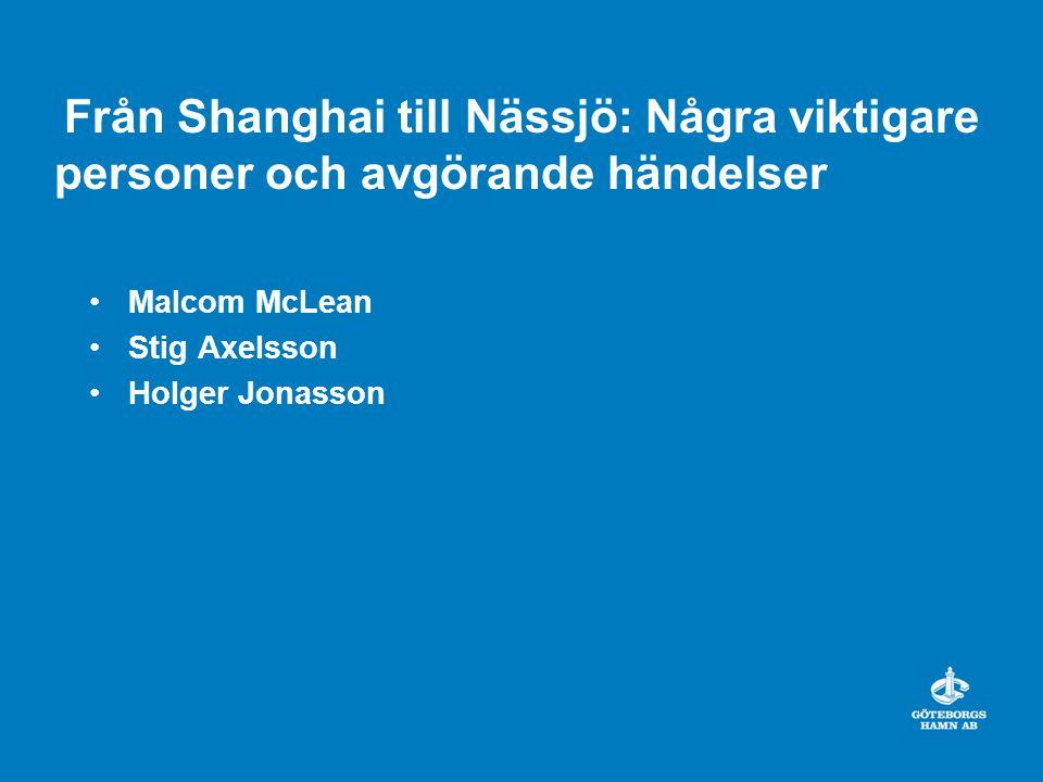 Från Shanghai till Nässjö: Några viktigare personer och avgörande händelser