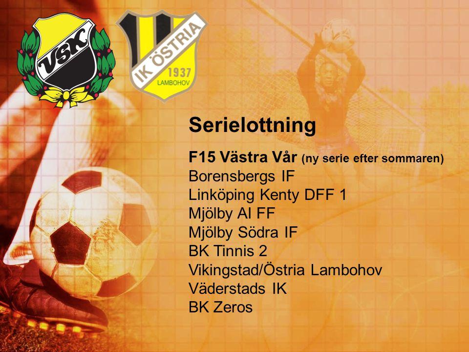 Serielottning F15 Västra Vår (ny serie efter sommaren) Borensbergs IF