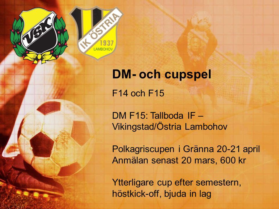 DM- och cupspel F14 och F15. DM F15: Tallboda IF – Vikingstad/Östria Lambohov. Polkagriscupen i Gränna 20-21 april.