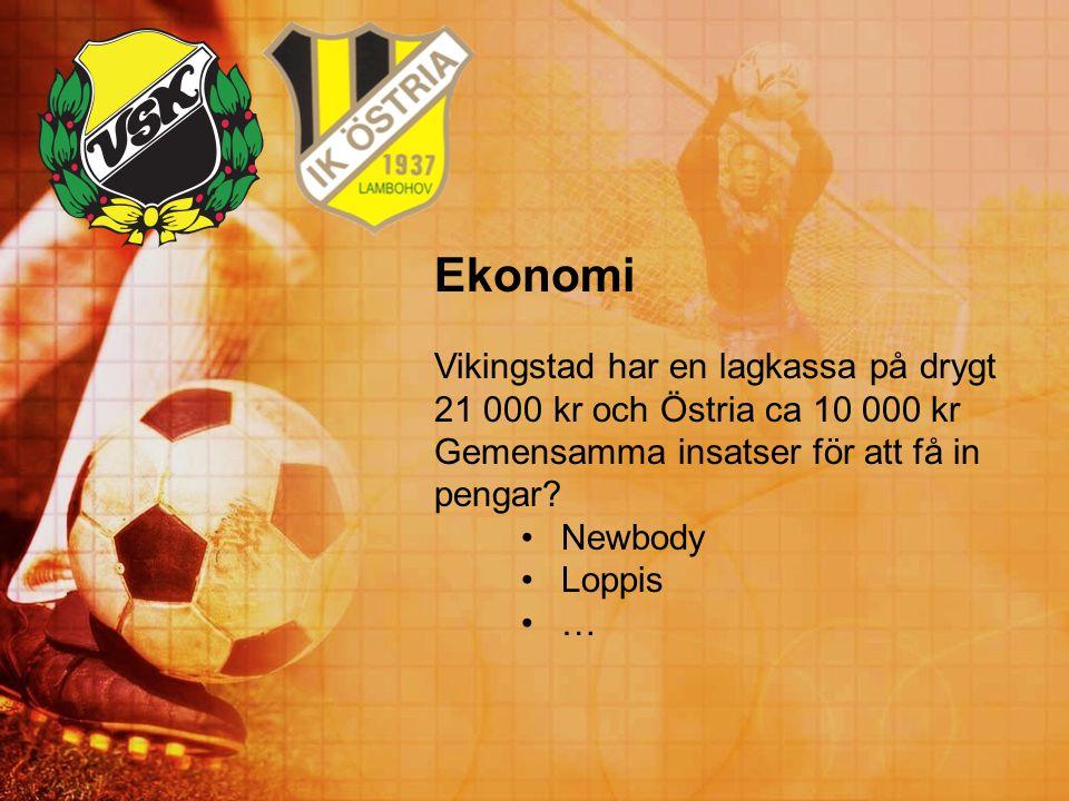 Ekonomi Vikingstad har en lagkassa på drygt 21 000 kr och Östria ca 10 000 kr. Gemensamma insatser för att få in pengar