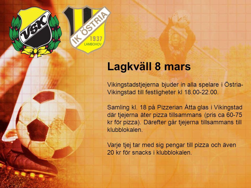 Lagkväll 8 mars Vikingstadstjejerna bjuder in alla spelare i Östria-Vikingstad till festligheter kl 18.00-22.00.
