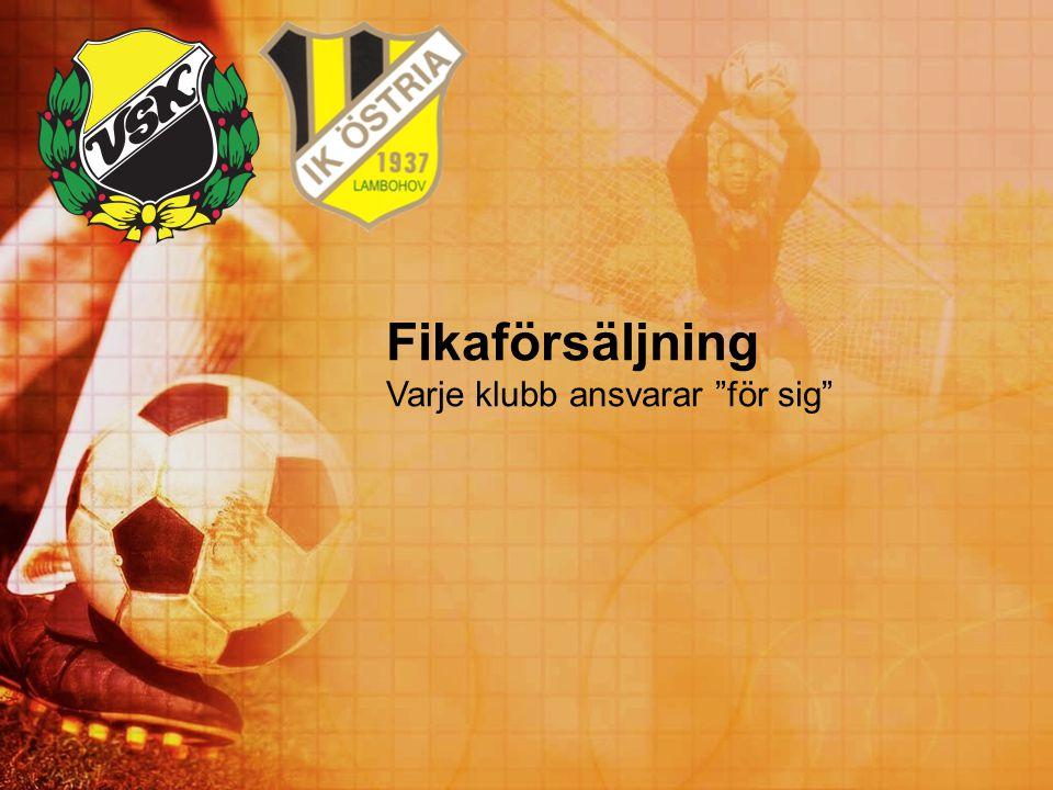 Fikaförsäljning Varje klubb ansvarar för sig Titti och Karin