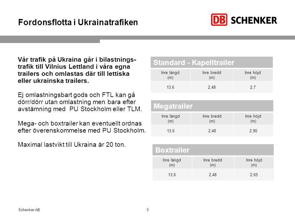 Fordonsflotta i Ukrainatrafiken