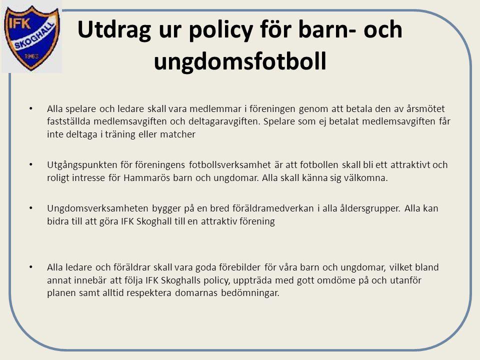 Utdrag ur policy för barn- och ungdomsfotboll