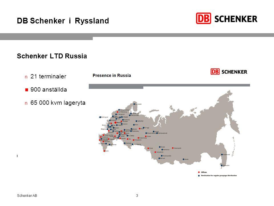 DB Schenker i Ryssland Schenker LTD Russia 21 terminaler 900 anställda