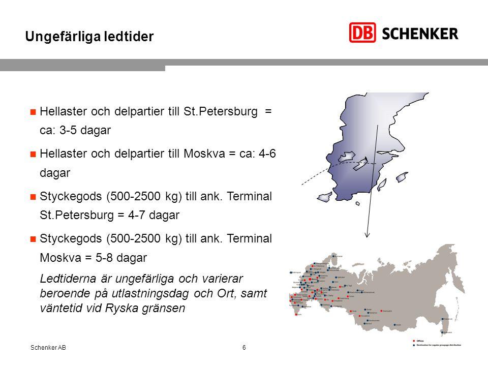 Ungefärliga ledtider Hellaster och delpartier till St.Petersburg = ca: 3-5 dagar. Hellaster och delpartier till Moskva = ca: 4-6 dagar.