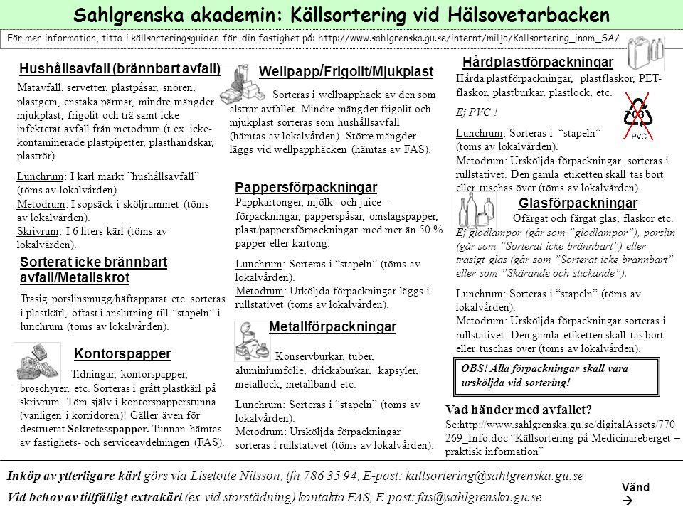 Sahlgrenska akademin: Källsortering vid Hälsovetarbacken