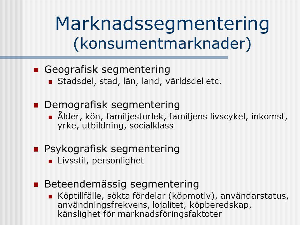 Marknadssegmentering (konsumentmarknader)