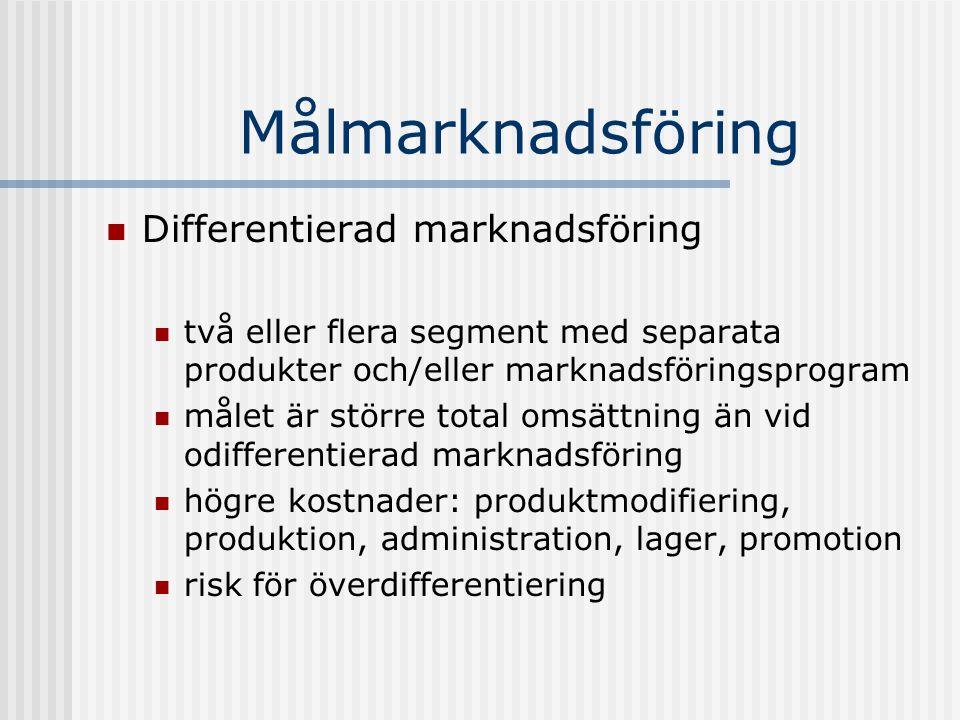 Målmarknadsföring Differentierad marknadsföring