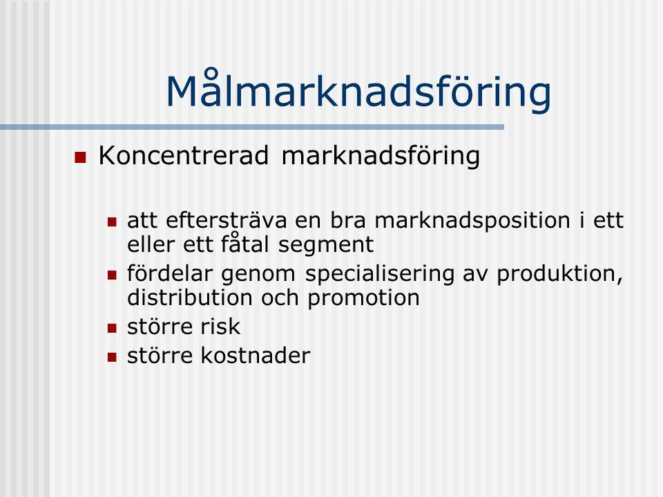 Målmarknadsföring Koncentrerad marknadsföring