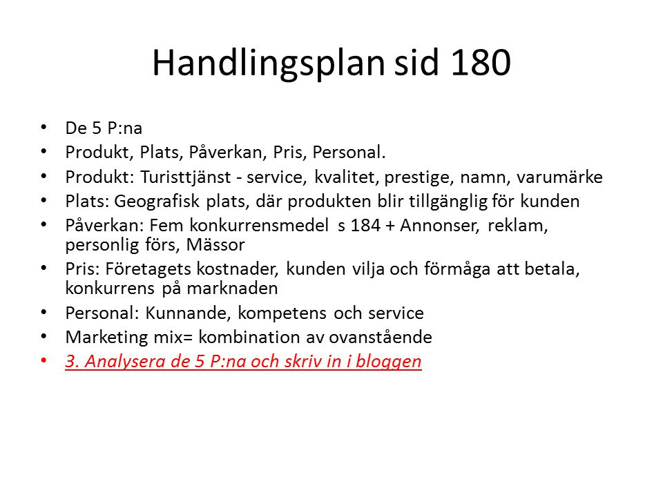 Handlingsplan sid 180 De 5 P:na