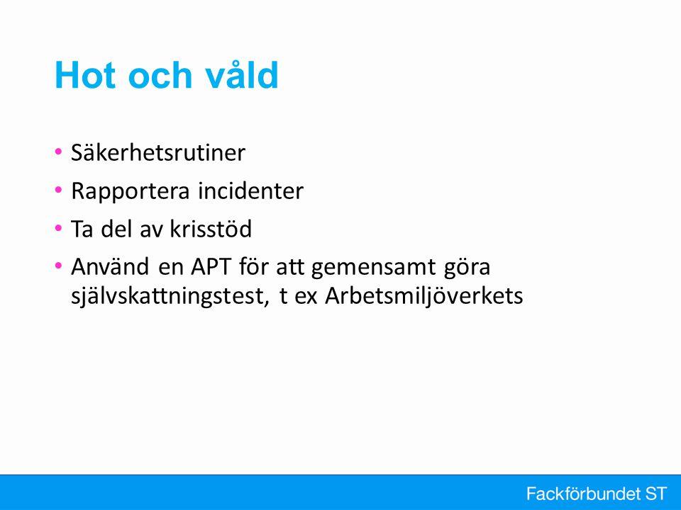Hot och våld Säkerhetsrutiner Rapportera incidenter Ta del av krisstöd