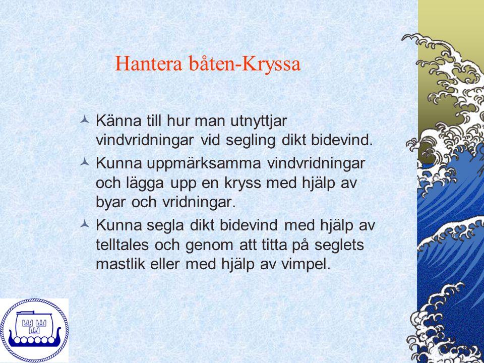 Hantera båten-Kryssa Känna till hur man utnyttjar vindvridningar vid segling dikt bidevind.