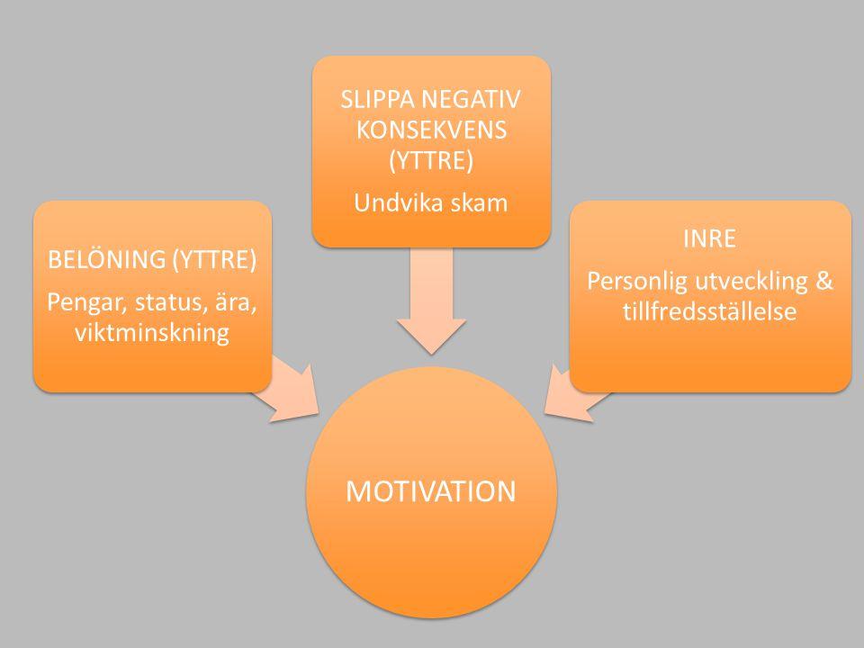 MOTIVATION SLIPPA NEGATIV KONSEKVENS (YTTRE) Undvika skam INRE