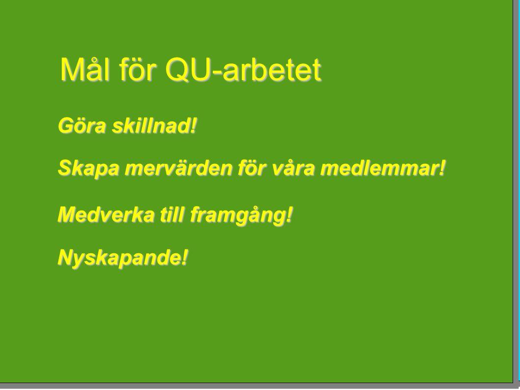 Mål för QU-arbetet Göra skillnad! Skapa mervärden för våra medlemmar!