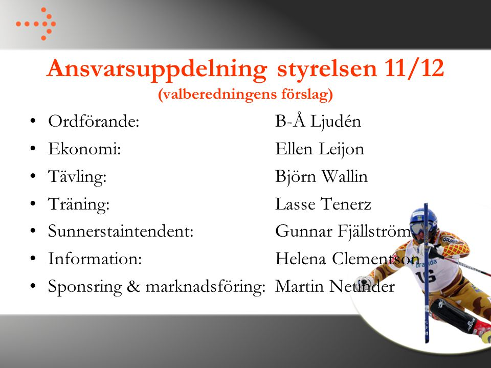 Ansvarsuppdelning styrelsen 11/12 (valberedningens förslag)