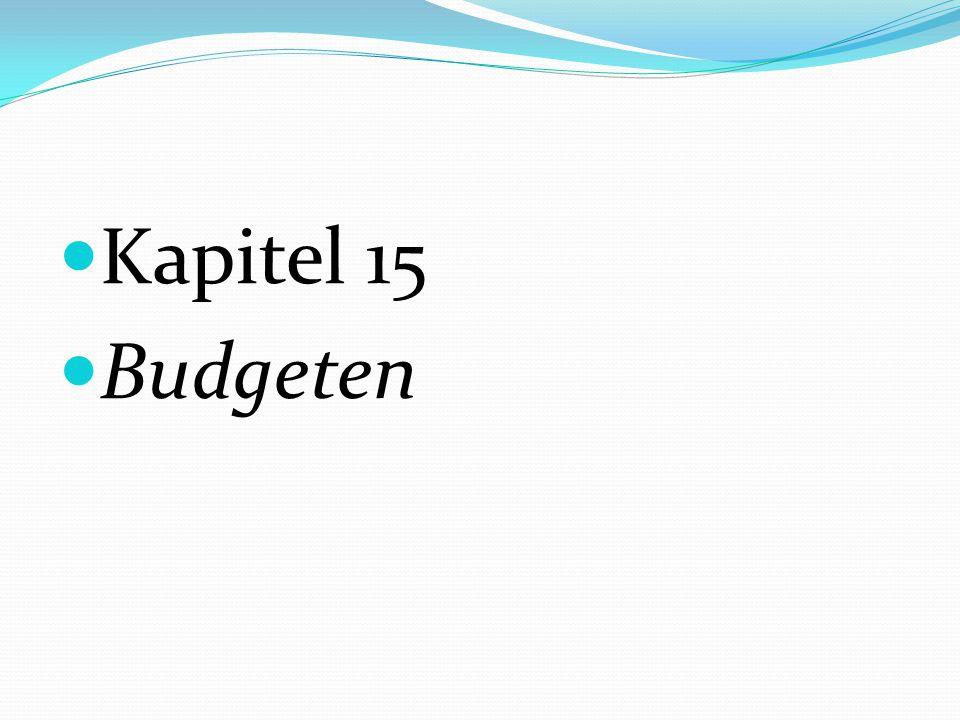 Kapitel 15 Budgeten