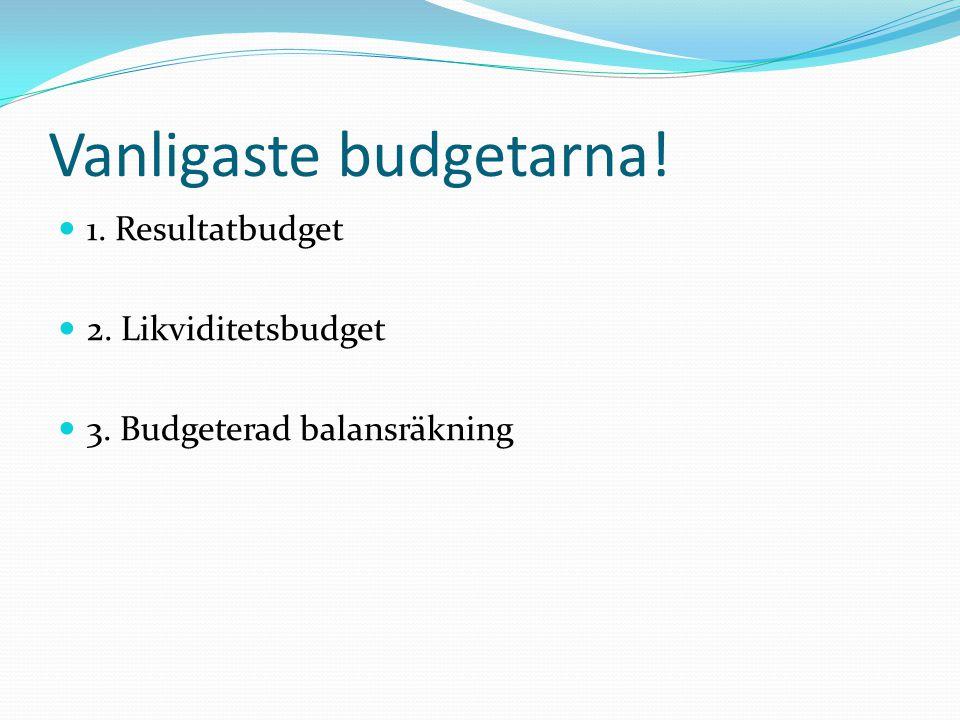 Vanligaste budgetarna!