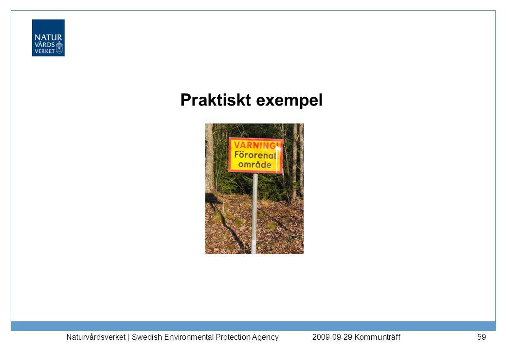 Praktiskt exempel Naturvårdsverket | Swedish Environmental Protection Agency. 2009-09-29 Kommunträff.
